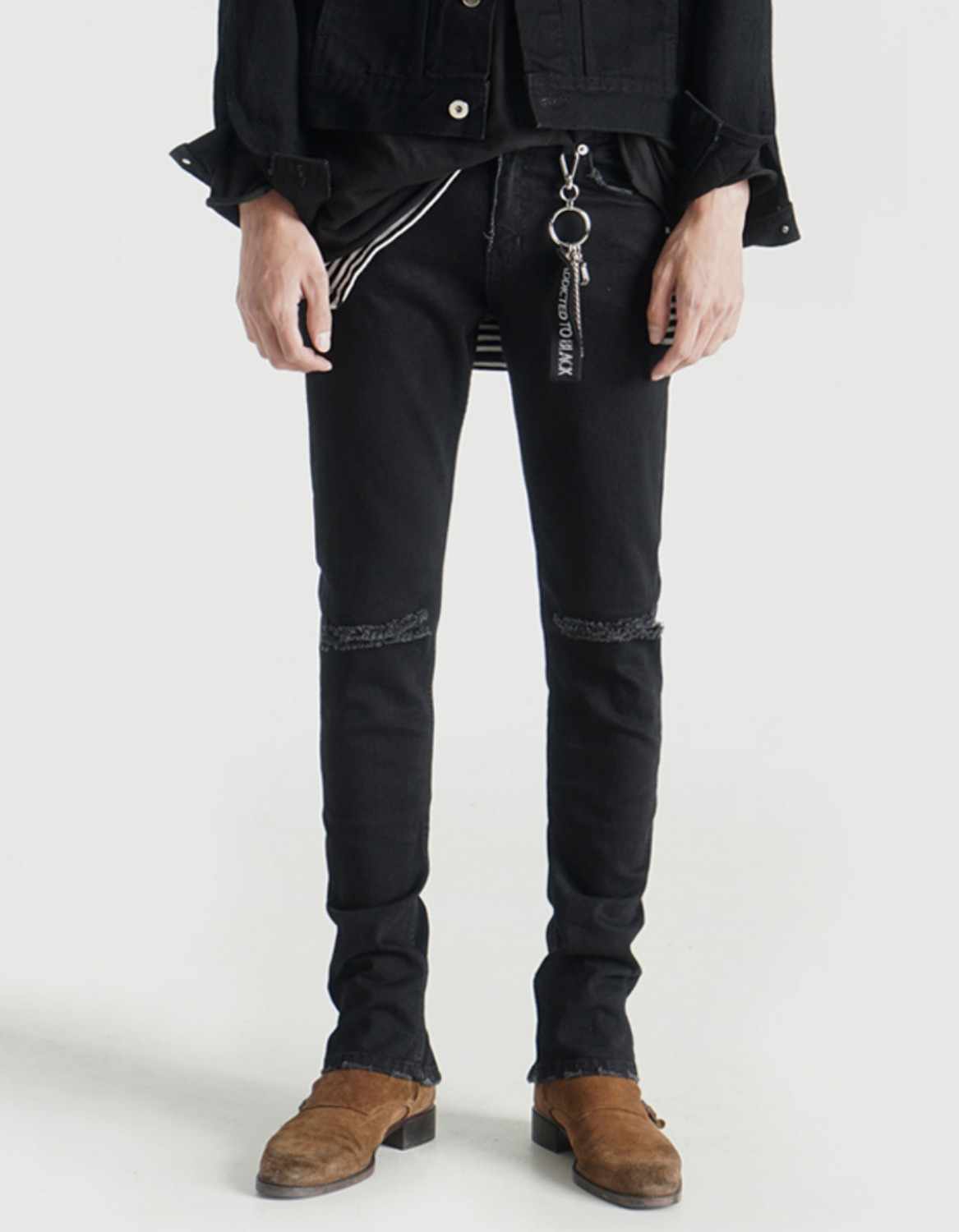 #LMD0007 LBLACK BACK-zipper Destroyed Denim
